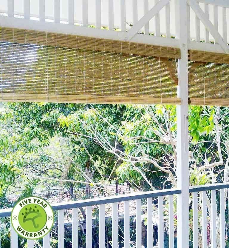 Raw Bamboo roll-up blind installed outdoors
