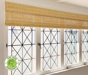 Raw Bamboo Rollup Blinds Clear Lacquered
