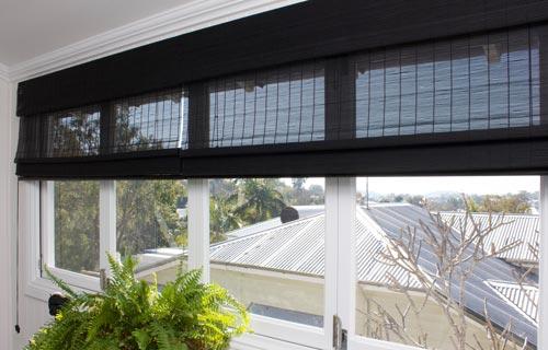 Black Matchstick Roman wide window blind