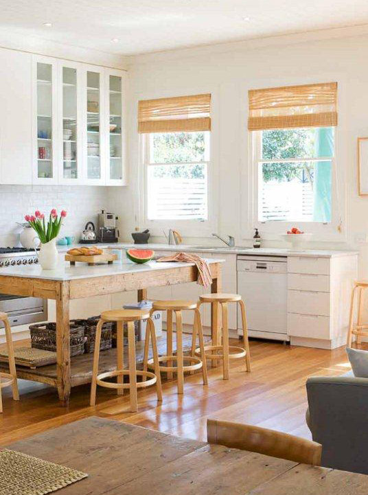 Natural Matchstick BambooRoman blinds in a kitchen