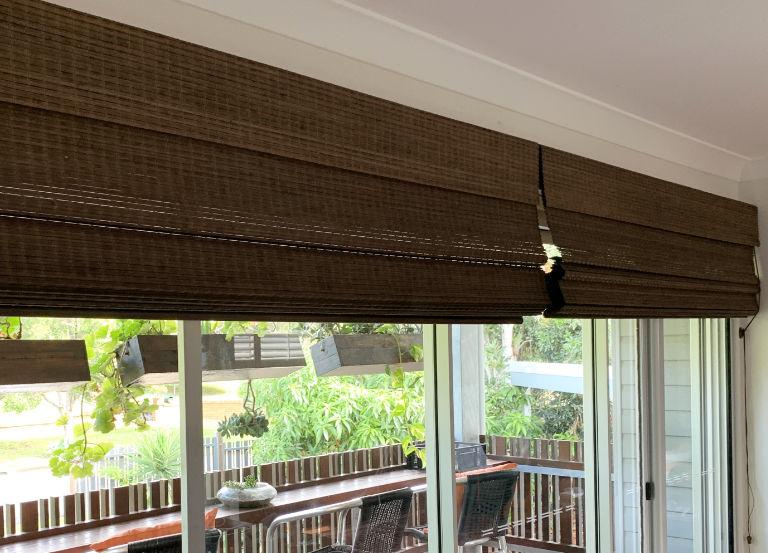Woven Bamboo Roman Blinds in Walnut