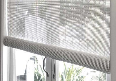 Matchstick bamboo blind in White