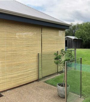 Raw Bamboo blinds used for screening, shading and keeping out the weather