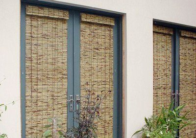 Woven Bamboo Blind in Clear-Lacquer for a kitchen window