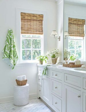 Photo of a bathroom fitted with bamboo window blind